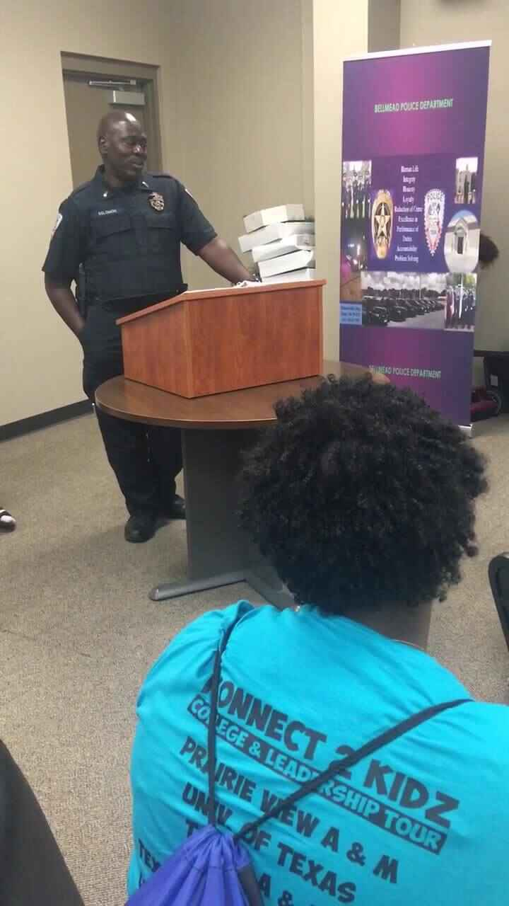 Lt. Anthony spoke to the students of violence, protecting and serving