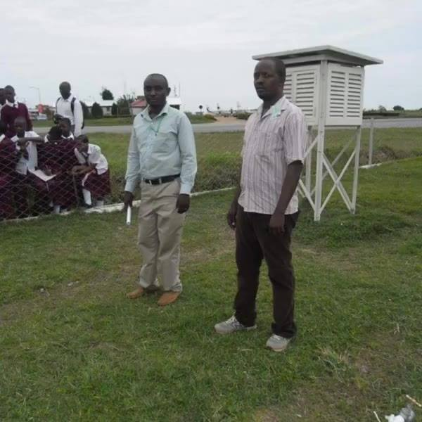 At weather station with form one students