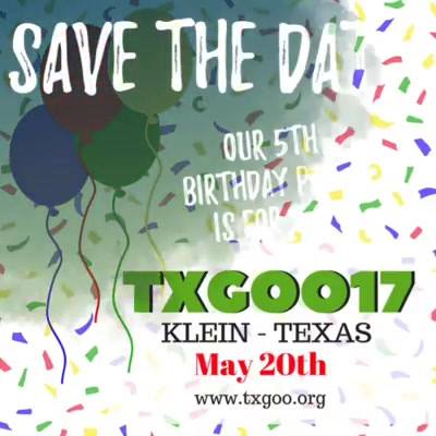 TXGOO17 is headed to Klein, TX this Spring! It's our 5th birthday and this party is for you! Save the date now.. you don...