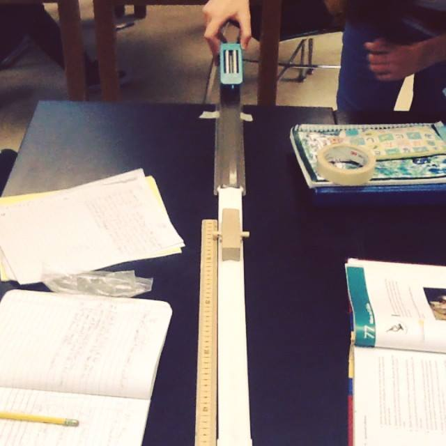 Team 5 in V Class testing effect of mass on a collision.  #TeamJCMS